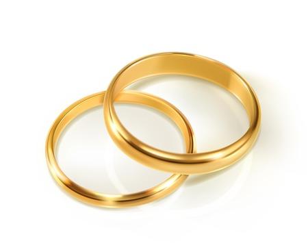 Coppia di anelli di nozze, illustrazione vettoriale Vettoriali