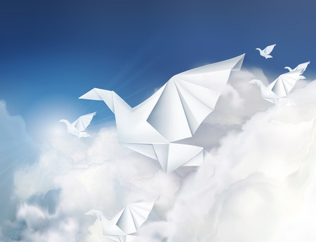 crane origami: Paper origami doves in the clouds vector illustration Illustration