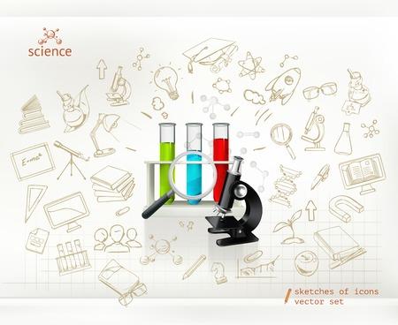 cartoon atom: Science, infographics vector