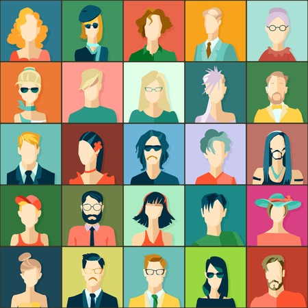 trendy male: Set of avatars, flat design