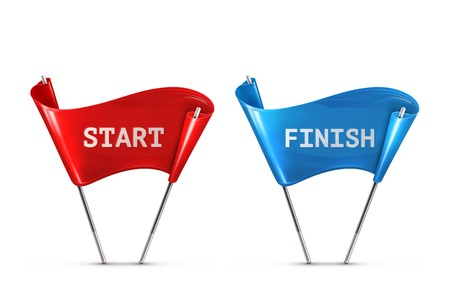 Start en Finish, vector illustratie Stock Illustratie