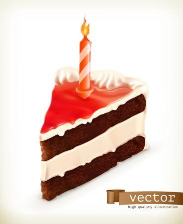 tortas cumpleaÑos: Pedazo de torta con una vela, iconos vectoriales Vectores