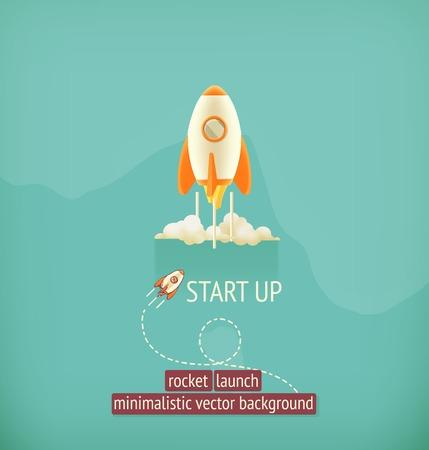 Raketlancering, minimalistische vector achtergrond Vector Illustratie
