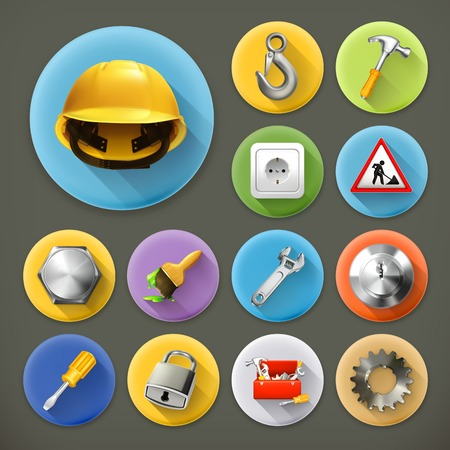 Service and repair, long shadow icon set Vector