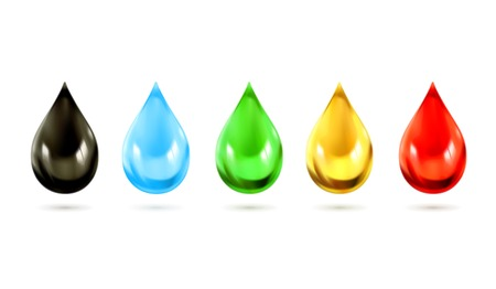 Set of multicolored droplets, vector icons