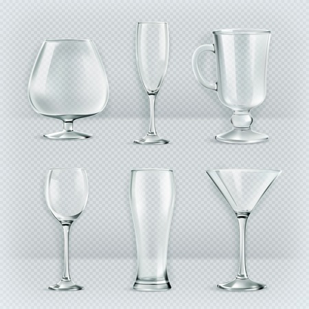Set of transparent glasses goblets, cocktail glasses collection, vector illustration, icons