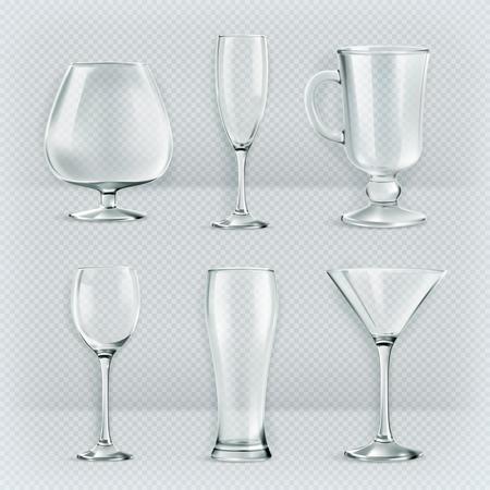 sklo: Sada transparentní skla pohárů, koktejlové sklenice sběr, vektorové ilustrace, ikony