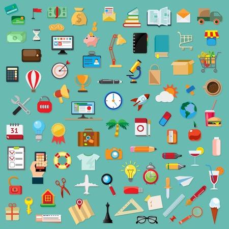 Set of universal icons, flat design Vector