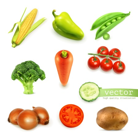 Set of vegetables, vector illustration Çizim