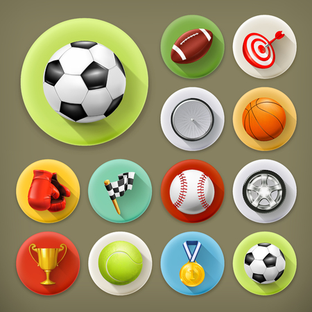 Sport, games and leisure, long shadow icon set Vector