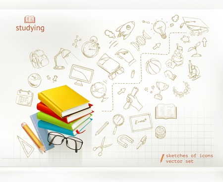 cartoon graduation: Studying and education infographics vector Illustration
