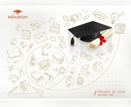 graduacion caricatura: El estudio y la educación, la infografía vector