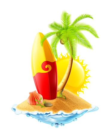 dune: Surfboard and tropical island, vector illustration