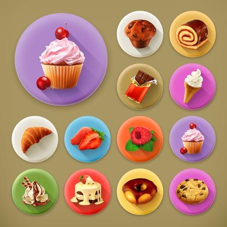 comiendo helado: Dulce y sabrosa, larga sombra conjunto de iconos Vectores