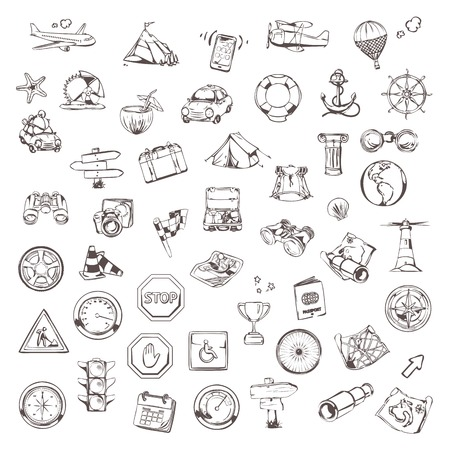 Travel and navigation, sketches of icons vector set Stock Illustratie