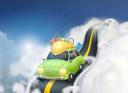 Traveling by car in the clouds, vector background