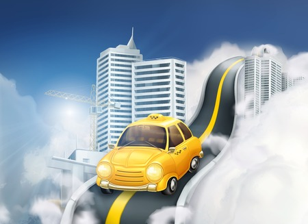 clouds cartoon: City vector illustration