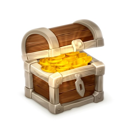 safe deposit box: Treasure chest, vector illustration isolated on white background
