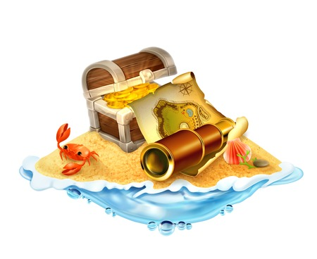 Treasure island, vector illustration isolated on white background Vector