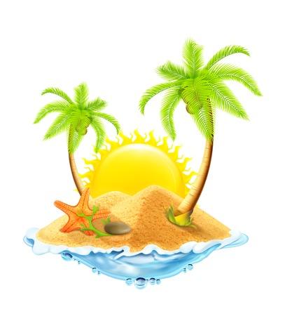 dune: Starfish in the sand, vector illustration