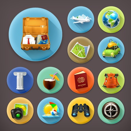 passport background: Vacation and Travel, long shadow icon set Illustration