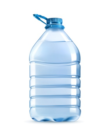 Big plastic bottle of potable water, barrel with handle, vector illustration isolated on white background