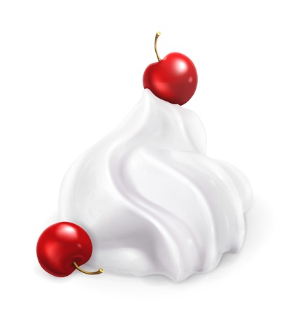 Whipped cream with berries, vector illustration