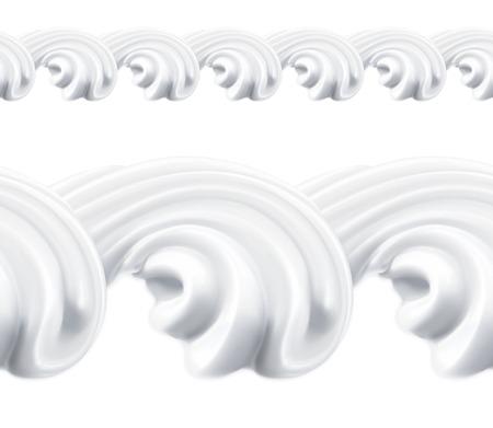 Whipped cream, vector seamless pattern Illustration