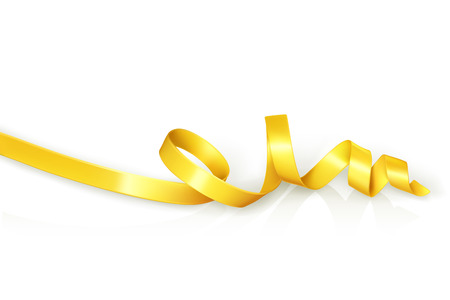 curling: Yellow curled ribbon party, vector