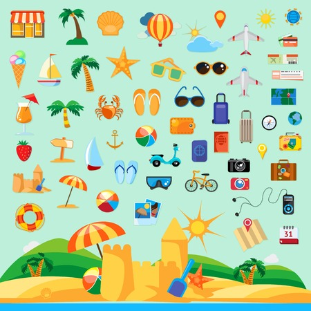 Beach holiday, icon set flat design Illustration