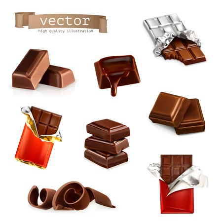 Chocolate bars and pieces, vector set Vector