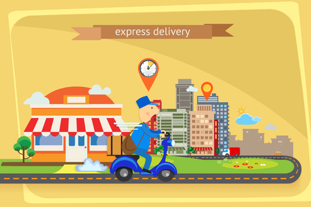 online payment: Express delivery, flat design