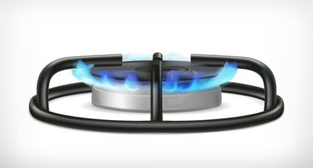 blue flame: Kitchen gas stove, vector object