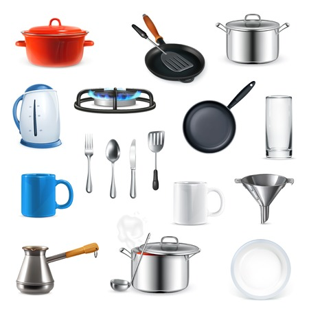 Kitchen utensils, vector set Çizim