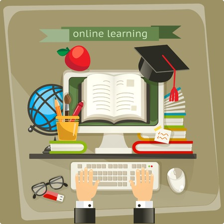 Online learning, vector illustration