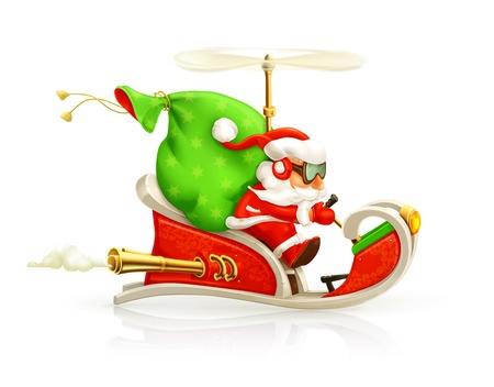 helicopter: Santa Claus on sledge, vector illustration