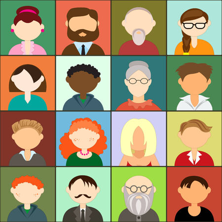 male face profile: Set of avatars, flat design