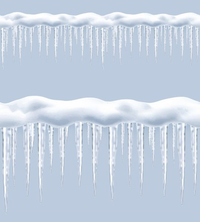 frozen water: Icicles, seamless border vector