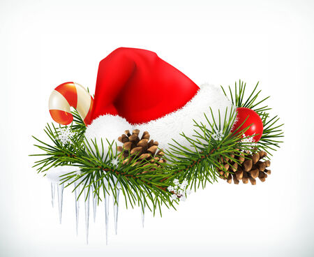 Santa Claus hat, Christmas tree and cones vector