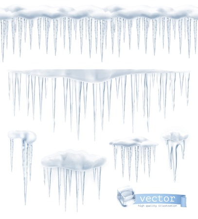ice: Icicles, set vector Illustration