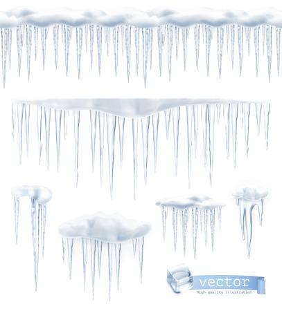 Icicles, set vector Stock Illustratie