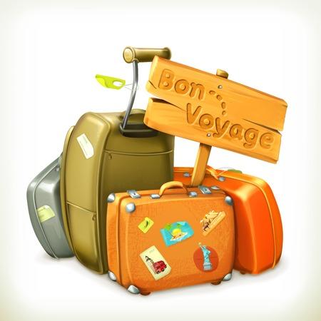 reise retro: Bon voyage Wort Reise-Icon-