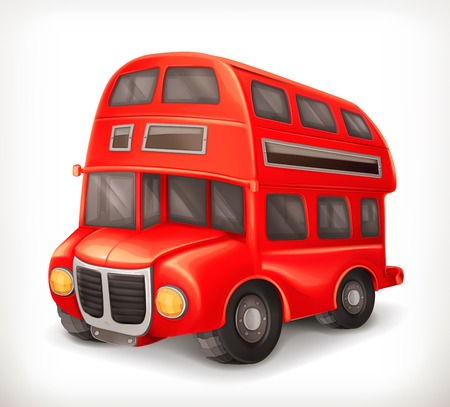 cartoon bus: Red double deck bus illustration