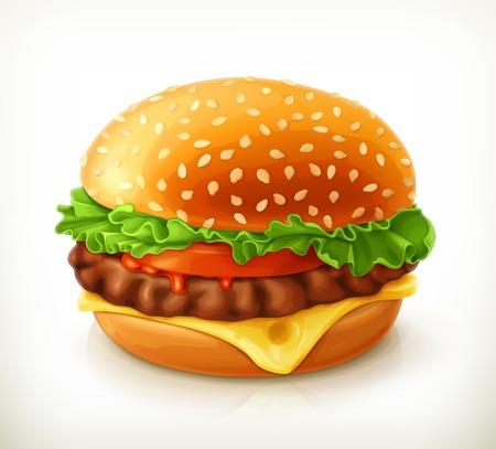 hamburguesa: Hamburguesa, icono vector Vectores