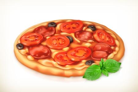 mozzarella cheese: Pizza, vector illustration Illustration