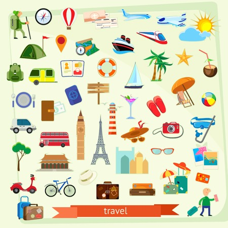 旅行のアイコンを設定、フラットなデザイン