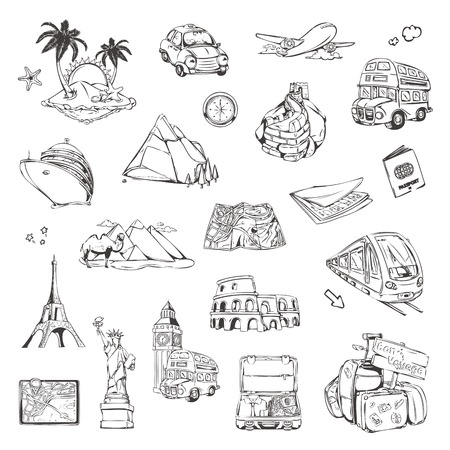 Travel, sketches of icons vector set Vector