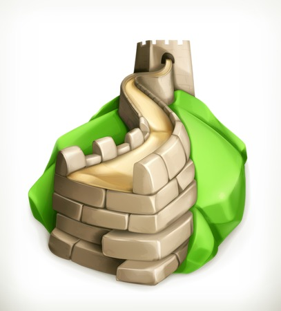 china wall: Great Wall of China, vector icon Illustration