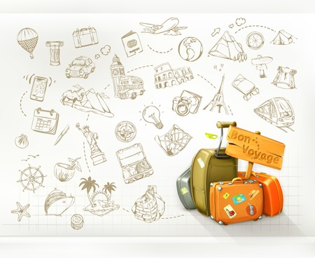 bag cartoon: Travel infographics, vector Illustration