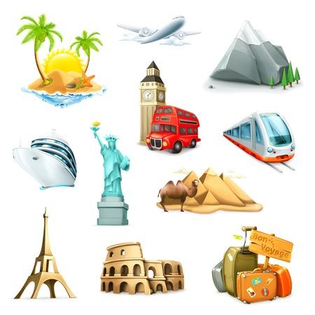 Viajes, conjunto de iconos vectoriales Vectores